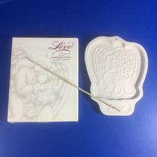 Longaberger Pottery Love 1995 Angel Series Cookie Mold With Box Usa Vintage