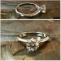 Solid 14K White Gold 2Ct White Round Cut Moissanite Wedding Engagement Ring