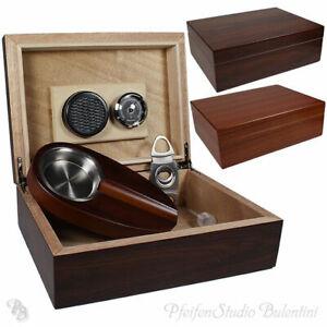 HUMIDOR SET Zeder-Holz mit Zigarren Ascher, Cutter, Befeuchter, Hygrometer NEU