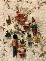 Vintage Hong Kong Santa Claus Rocking Horse Pony Wood Wooden Ornament Lot Set