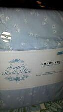 Simply Shabby Chic vintage blue floral Cottage Rose bud Sheet Set Rachel Ashwell