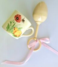 Vintage or Antique Celluloid Baby Egg Shaped Rattle & Ceramic Child's Cup or Mug
