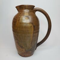 "VTG Pottery Glazed 10.5"" Pitcher Jug Ribbed Wheel Thrown Art Deco Maker Stamp"