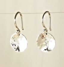 Solid 925 Sterling Silver 11mm Hammered Drop Disc Earrings