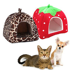Leopard Print Foldable Cave Tent Dog Cat Bed Cave Tent Small Pet House Kennel