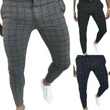 Men's Plaid Slim-Fit Pencil Pants Formal Casual Wedding Business Skinny Trousers