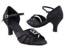 Women's Rhinestone Black Satin Salsa Mambo Latin Dance Shoes  heel 3 Size 5.5