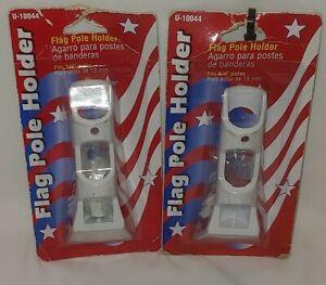 """2x Flag Holder Bracket 3/4"""" 30° Cast Aluminum Flag Pole Holder White Outdoor"""
