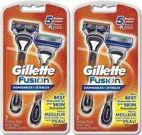 2 Pk Gilette Fusion Disposable Razors - 2 Count - Mens Razors Blades - 4 Total