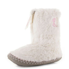 Womens Bedroom Athletics Monroe Cream Moonrock Faux Fur Slipper Boots Size