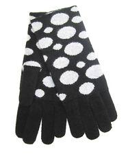 100% CASHMERE Ladies Womens Gloves Mittens Polka Dot Black Grey OS reg: $119.00