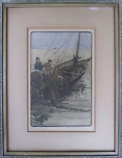 ANTIQUE NY IL AMERICAN IMPRESSIONIST ETCHING FISHERMEN CHESTER DANFORTH FINE ART