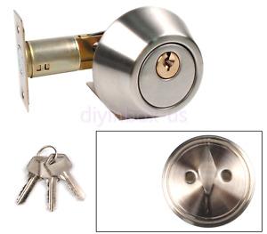 Silver Cylinder Deadbolt Door Lock Security Home Entry Handle Set with 3 keys