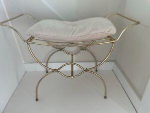 Vintage Gold Metal Wire Vanity Chair/Stool/Bench Mid Century Hollywood Regency
