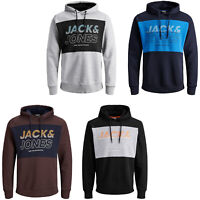 Jack & Jones Core Hoodie Mens Logo Print Drawstring Hooded L/S Sweater JCOJonah