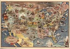 1946 pictorial map POSTER American history historical events Aaron Bohrod 003097