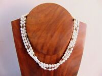 Beautiful Hallmark 9ct 375 Gold Freshwater Pearl 3 Strand Torsade Necklace 33.2g