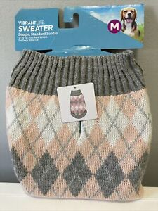 Vibrant Life, Dog Sweater, size Med, Pink and Grey 17 in long 20-50lb