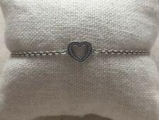 "Sterling Cubic Zirconia Ale 6.5 - 7"" Pandora Bracelet Love Heart Symbol of Love"