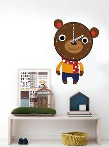 Bedroom, Nursery Or Playroom Kids Clock 3D Wall Decal Decoration Bear