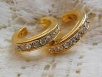 Vintage Gold Tone Rhinestone HOOP Pierced Earrings