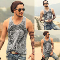 HOT Men's Bodybuilding Stringer Tank Top Printing Muscle Gym Workout Clothes New