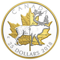 2018 Canada Timeless Icons Caribou Piedfort 1 oz Silver Gilt Proof $25 SKU52282