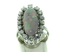 ANTIQUE  1.60ct  DIAMOND & 3.40ct OPAL 14KT WHITE GOLD  RING SIZE 5