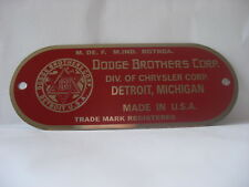 28,29,30,31,32,33,34,35,36 Dodge Brothers ID Plate - Show Quality - In RED