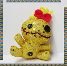 "3.5"" Plush Shinny Lilo and Stitch Scrump Plush Keychain Dangle Mascot Golden"