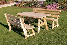 Outdoor 8 Foot Picnic Table w 2 Backed Benches *8 Stain Colors* Amish Made Usa