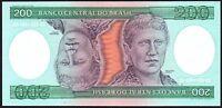 1984 Brazil 200 Cruzeiros Banknote * UNC * P-199b *