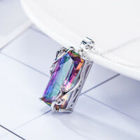 925 Silver Mystic Rainbow Topaz Stone Pendant Necklace Party Prom Choker Jewelry