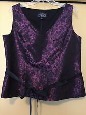 NEW Alex Evenings Black/Wine Floral, Sleeveless Top, Size Large, NWOT
