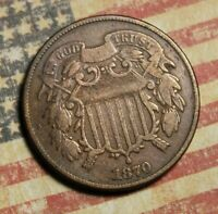 1870 2 CENT PIECE COPPER COLLECTOR COIN FREE SHIPPING