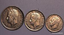 3 PIECES ESPAÑA MONÁRQUICO EL REY JUAN CARLOS 1° monedas 5 , 25 y 50 PESETAS
