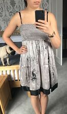 TFNC Grey Silk Dress With Koi Carp Print Size 1 (Small / UK 8) - Used
