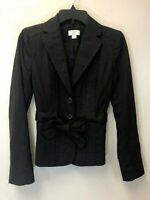 Ann Taylor Loft Women's Dark Gray Blazer Jacket with Tie Belt, Size 0, EUC