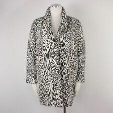 Zara Women Jacket Leopard Print Black Beige Animal Cotton Oversize Dressy Coat M