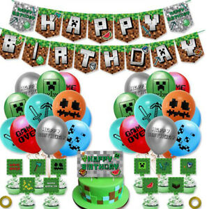 TNT Pixel Green Happy Birthday Banner Hanging Bunting Balloons Party Decoration