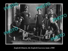 Old Large Historic Photo Of Seaforth Ontario, The Seaforth Lacrosse Team c1900