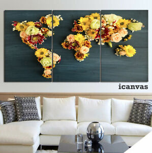 World Map of Flowers 3 piece HD Poster Wall Home Decor Canvas Print