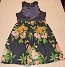 Free People Sleeveless Embroidered Applique Wool Black Dress Size Large Floral