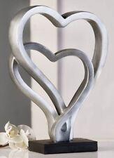 Skulptur Figur Kunstobjekt Hearts Antik-silber 30x20x8 Cm