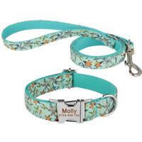 Dog Leash Personalized Dog Collar Custom Name Adjustable Nylon Dog Control XS-L