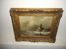 Old oil painting,[ Beautiful wnterlandscape with ice skaters, great frame! }.