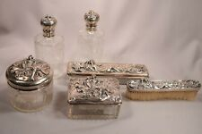 Exquisite Art Nouveau Sterling Silver Dresser Set Beautiful Women with Peacocks