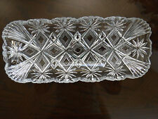 Vtg. Clear Pressed Glass Rectangular Serving Tray/Dish 11x4 3/4