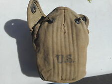 WWII U.S.M.C. Black Enameled Canteen And Cover Dated 1942 Named Chriso