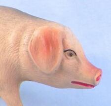 Vintage Pig Celluloid Toy Christmas Putz Train Display Pink Tan Large #49 Nice